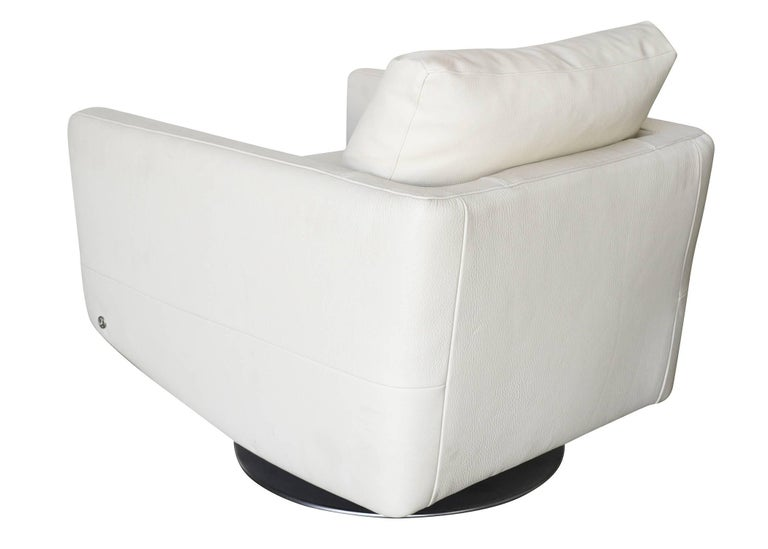 Contemporary Modernist White Swivel Lounge Chair with Brush Steel Base For Sale