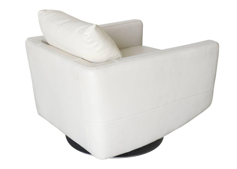 Modernist White Swivel Lounge Chair with Brush Steel Base For Sale 1