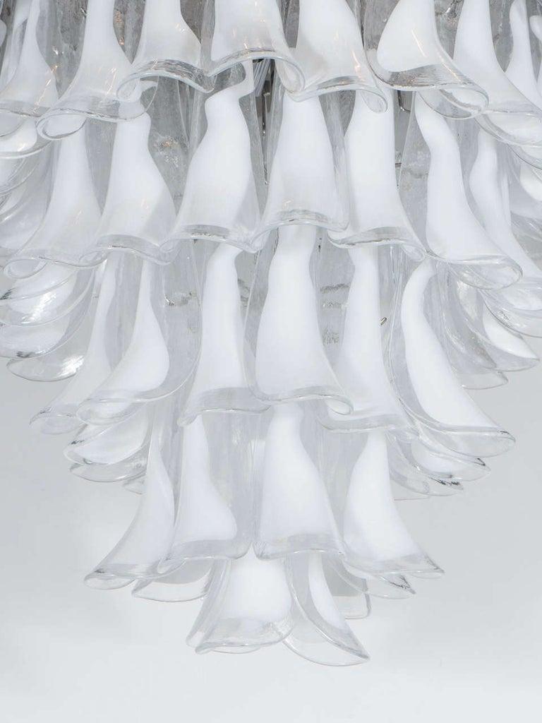 Mid-Century Modern Modernist White and Translucent Handblown Murano Glass