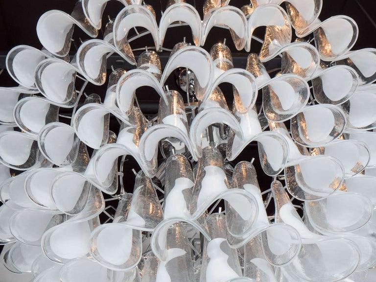 Modernist White and Translucent Handblown Murano Glass