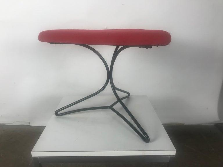 Mid-Century Modern Modernist Wireiron and Fabric Tricorn Stool/Ottoman Vladimir Kagan For Sale