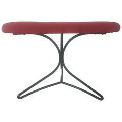 Modernist Wireiron and Fabric Tricorn Stool/Ottoman Vladimir Kagan