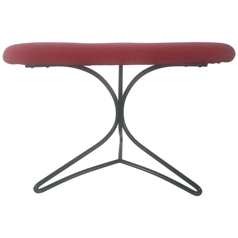 Modernist Wireiron and Fabric Tricorn Stool/Ottoman Vladimir Kagan For Sale