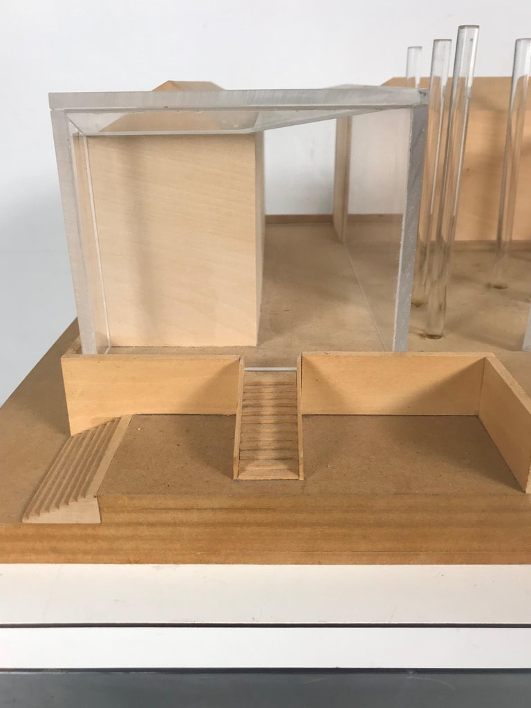 Mid-Century Modern Modernist Wood and Acrylic Architectural Model Columbia University, circa 1970s For Sale