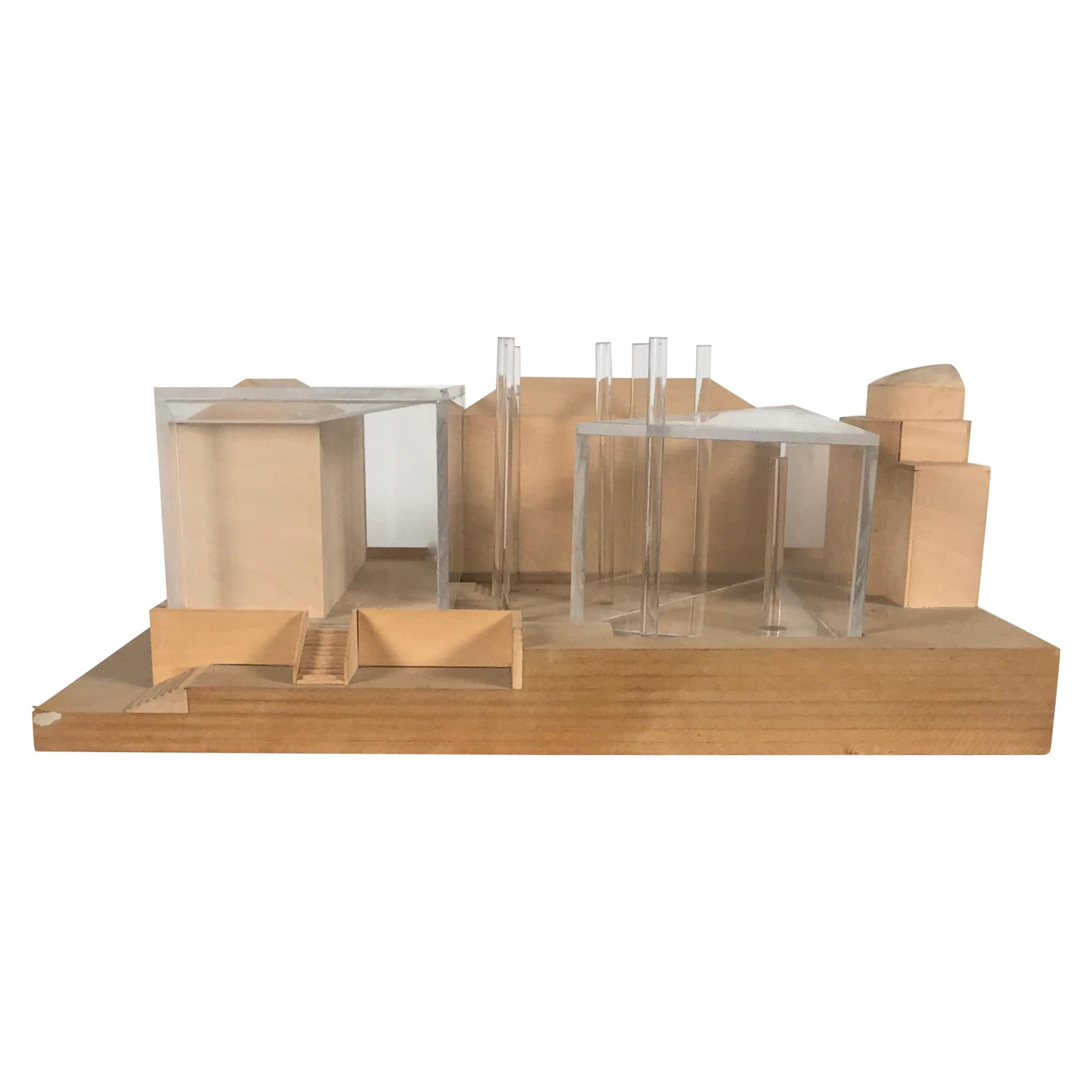 Modernist Wood and Acrylic Architectural Model Columbia University, circa 1970s