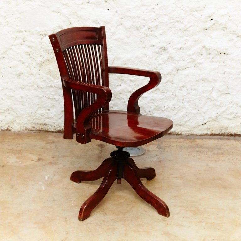 Modernist Wood Swivel Chair from Barcelona, circa 1940 For ...