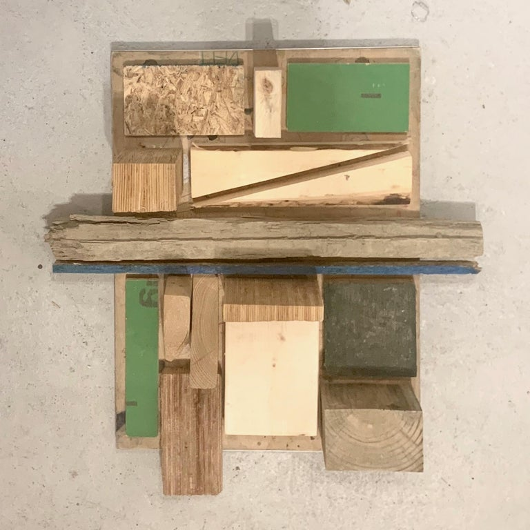 Stunning assemblage in blues and greens by upstate NY artist Judy Engel. Interesting design on the back of the piece as well. Sketches on drawing boards by school children. Signed on back by the artist. Greatly influenced by the modernism of the