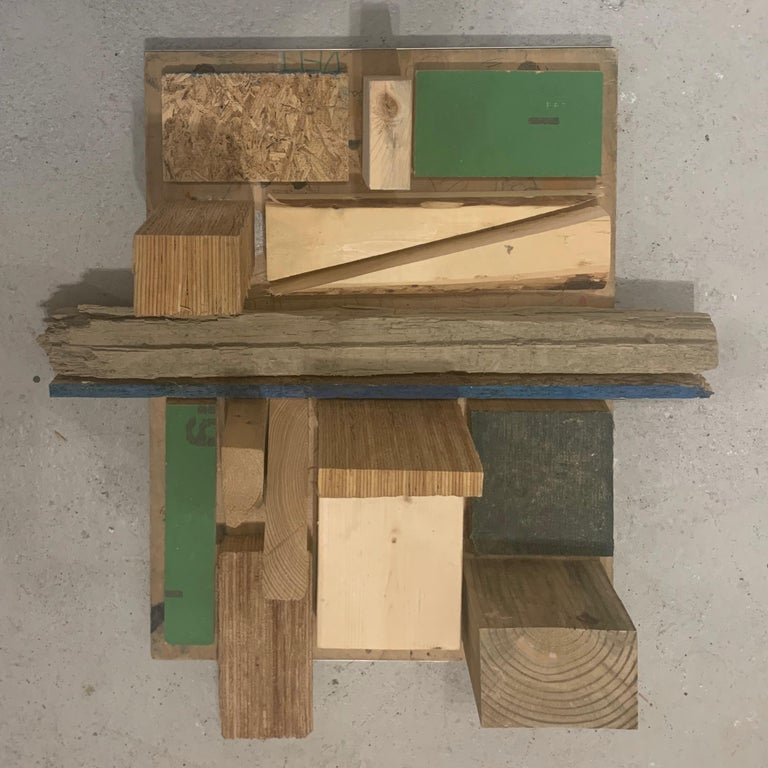 Painted Modernist Wooden Wall Hanging Sculpture Assemblage by Judy Engel For Sale