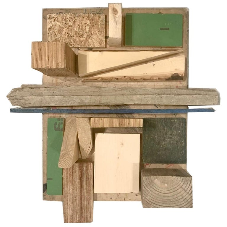 Modernist Wooden Wall Hanging Sculpture Assemblage by Judy Engel For Sale