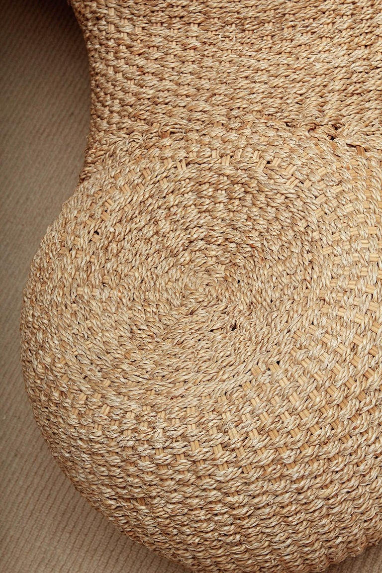 Modernist Woven Wicker And Rope Chaise Lounge For Sale At