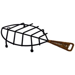 Modernist Wrought Iron Cane Wrapped Fish Trivet