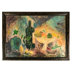 Modernist Yellow, Blue, Green, Orange Fruit Still Life Painting, circa 1959