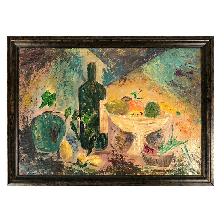 Modernist Yellow, Blue, Green, Orange Fruit Still Life Painting, circa 1959 For Sale