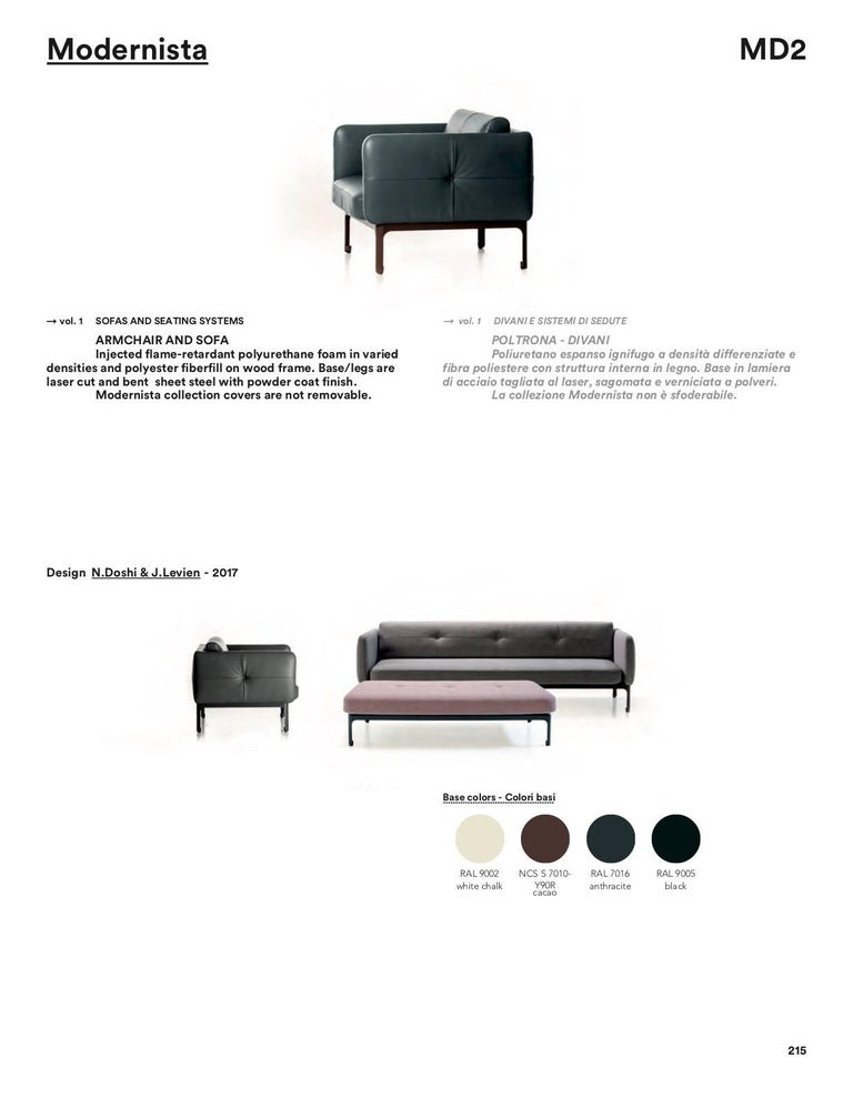 Steel Modernista Armchair by Doshi and Levien in Fabric or Leather for Moroso For Sale