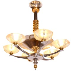 Modernistic Six-Arm French Art Deco Chandelier, 1930s