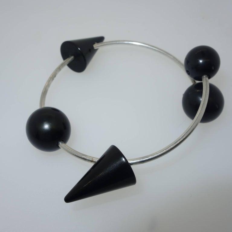 Women's or Men's Modernistic Blackened Steel Bracelet For Sale