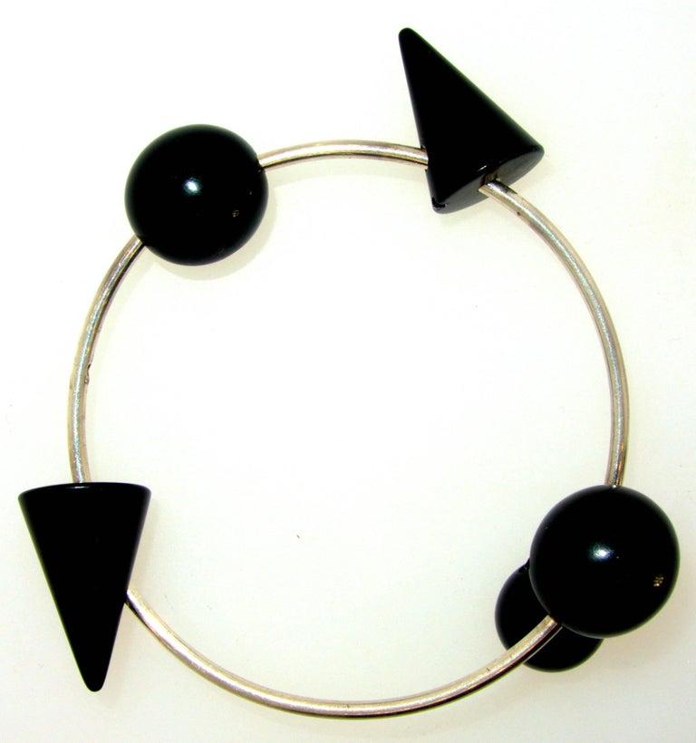 Modernistic Blackened Steel Bracelet For Sale 2
