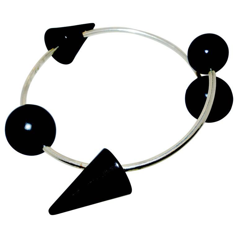 Modernistic Blackened Steel Bracelet For Sale