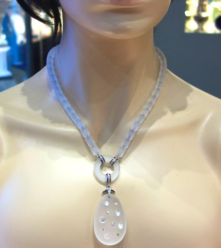 Modernistic Diamond, Rock Crystal, Onyx, and Moonstone Necklace, circa 1937 For Sale 5