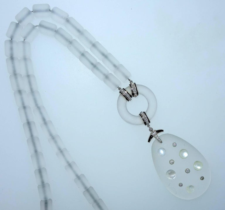Modernistic Diamond, Rock Crystal, Onyx, and Moonstone Necklace, circa 1937 In Excellent Condition For Sale In Aspen, CO