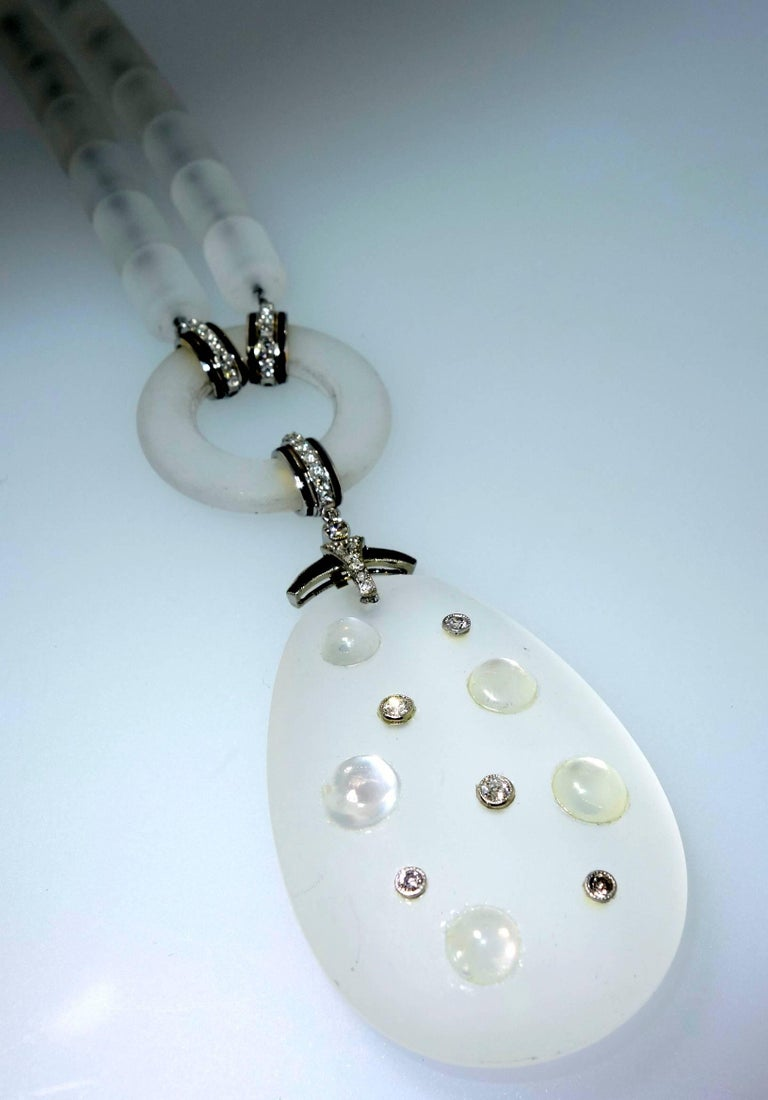 Modernistic Diamond, Rock Crystal, Onyx, and Moonstone Necklace, circa 1937 For Sale 2