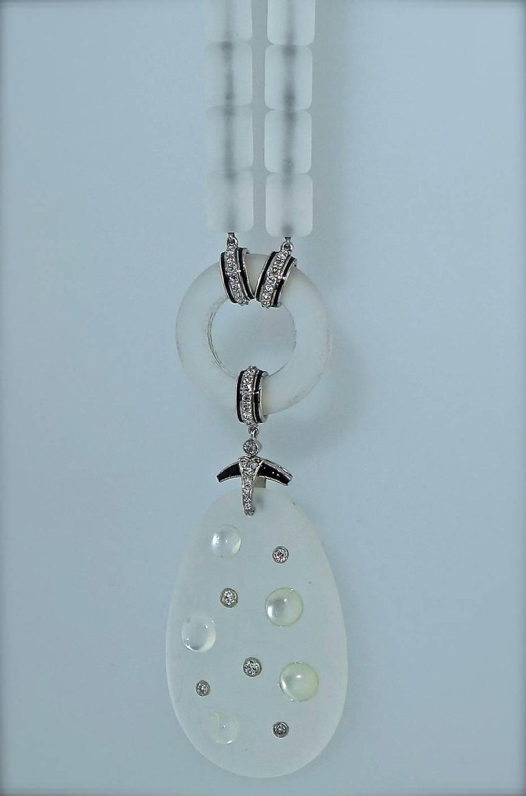 Modernistic Diamond, Rock Crystal, Onyx, and Moonstone Necklace, circa 1937 For Sale 3