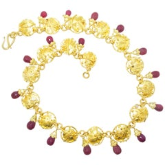 Modernistic Gold Necklace with Rubies and Diamonds