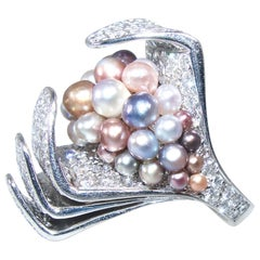 Modernistic Natural Multi-Color Pearl and Diamond Ring