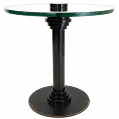 Modernistic Round Table in Lacquered Metal and Glass, circa 1930