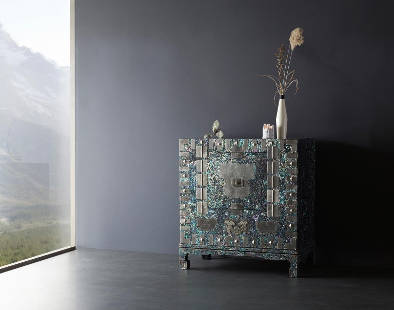 South Korean Modernized Korean Antique Blue Mother of Pearl Cabinet by Arijian For Sale