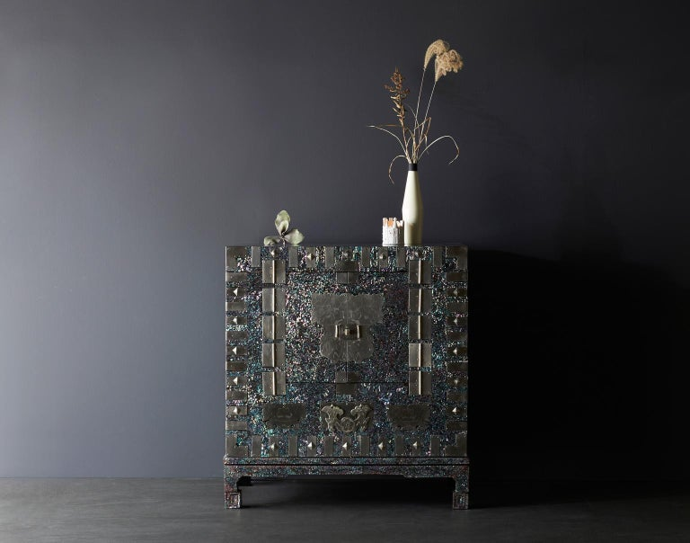 Lacquered Modernized Korean Antique Blue Mother of Pearl Cabinet by Arijian For Sale