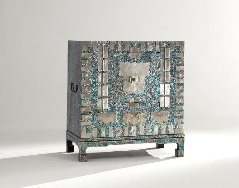 Contemporary Modernized Korean Antique Blue Mother of Pearl Cabinet by Arijian For Sale