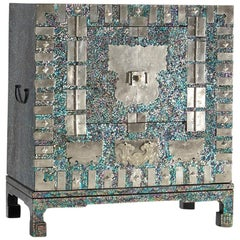 Modernized Korean Antique Blue Mother of Pearl Cabinet by Arijian