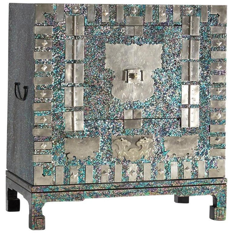 Modernized Korean Antique Blue Mother of Pearl Cabinet by Arijian For Sale