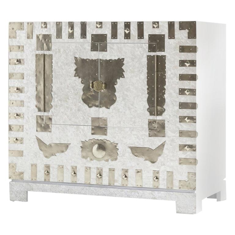 Modernized Korean Antique White Mother of Pearl Chest Cabinet by Arijian