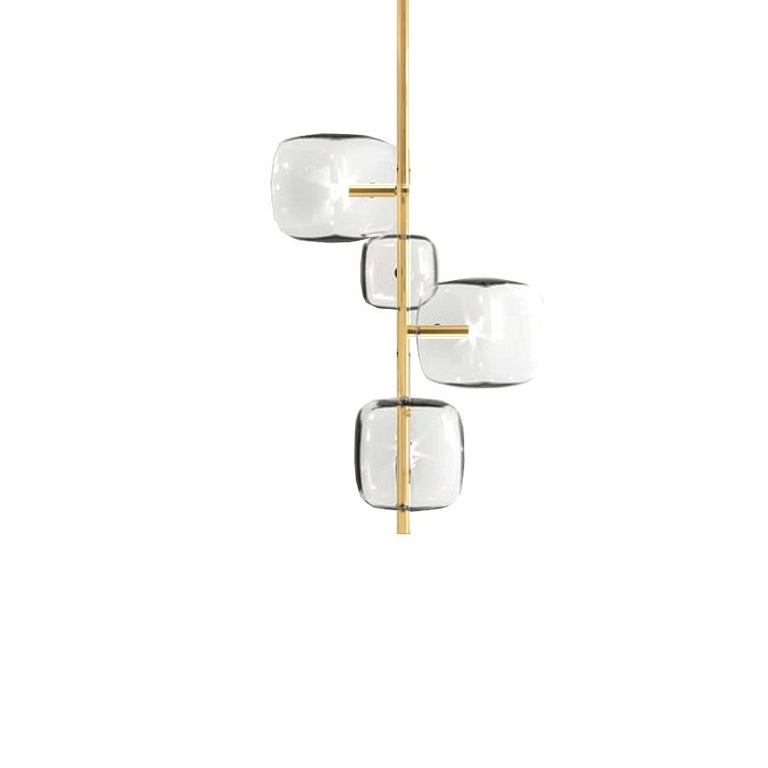 Italian Moderno, Glass Pendant Lamp with 4-Lights by Massimo Castagna, Made in Italy For Sale