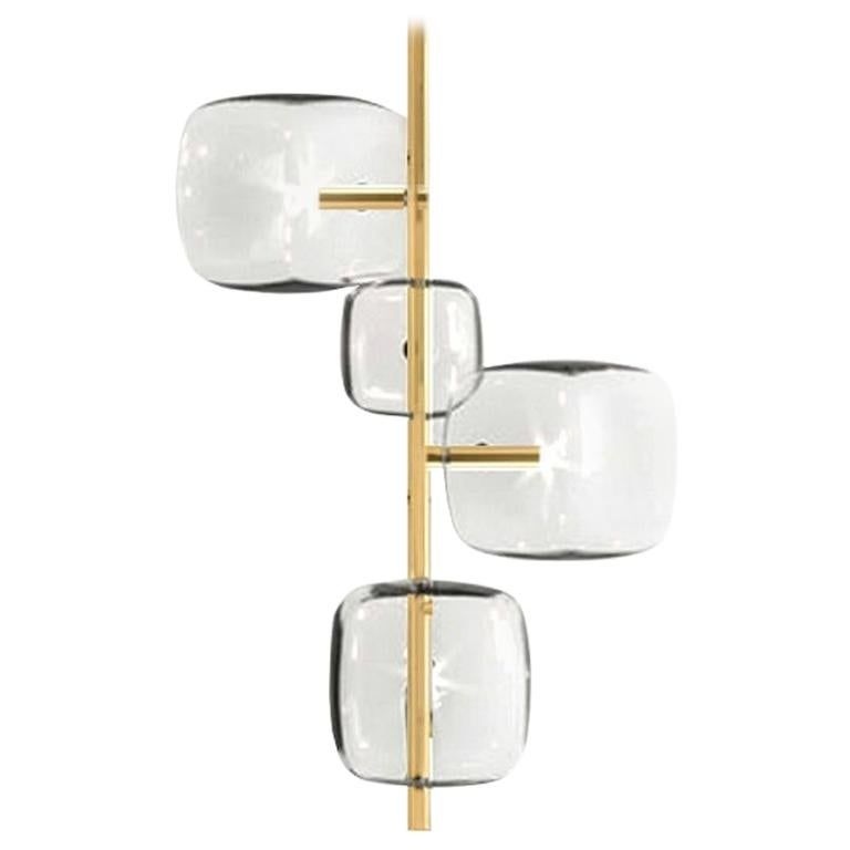 Moderno, Glass Pendant Lamp with 4-Lights by Massimo Castagna, Made in Italy
