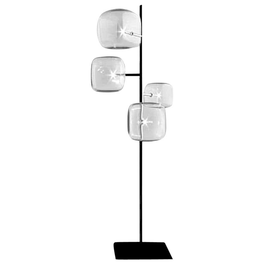 Moderno, Glass Floor Lamp with 4-Lights with Black Nickel Finish, Made in Italy
