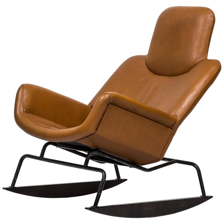 """Moderno"" Leather Rocking Chair by Yrjö Kukkapuro, Finland, 1960s"