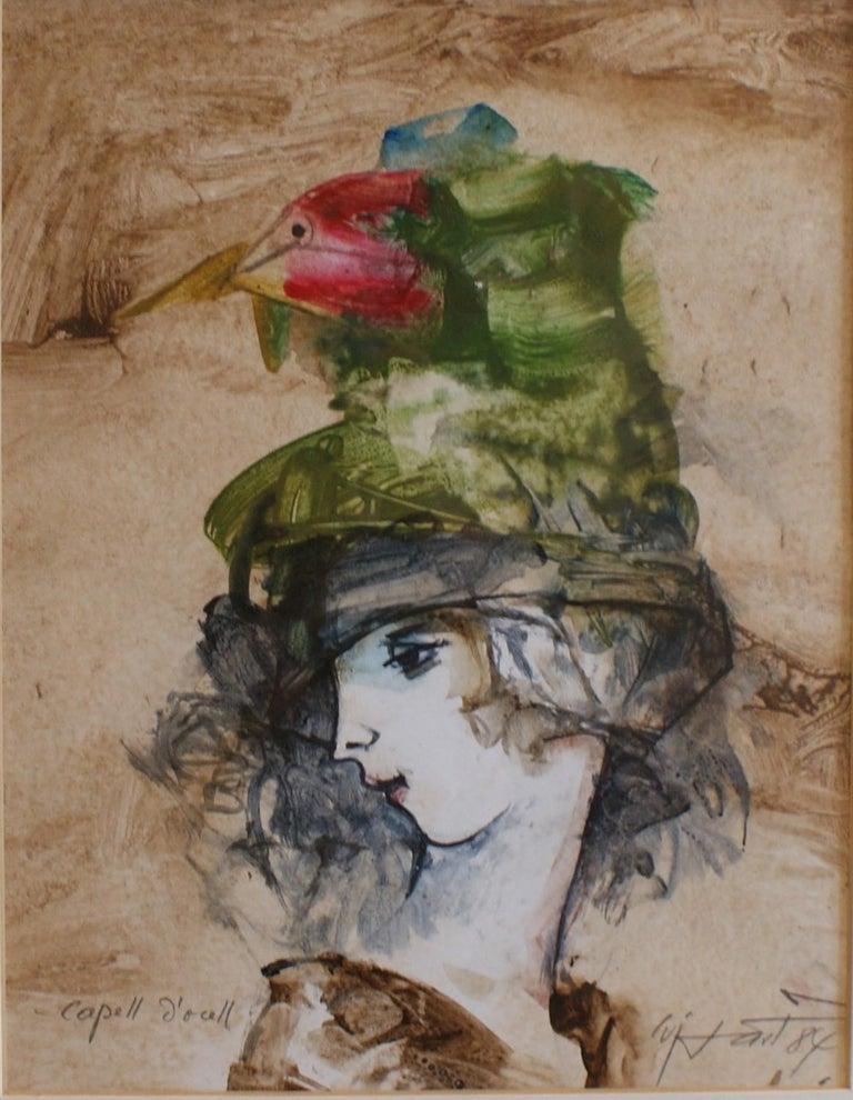 Modest Cuixart i Tàpies Portrait Painting - Capell D´ocell. 1984. mixed media cardboard painting
