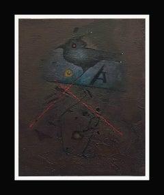 Garsot- original abstract  acrylic canvas painting 1993