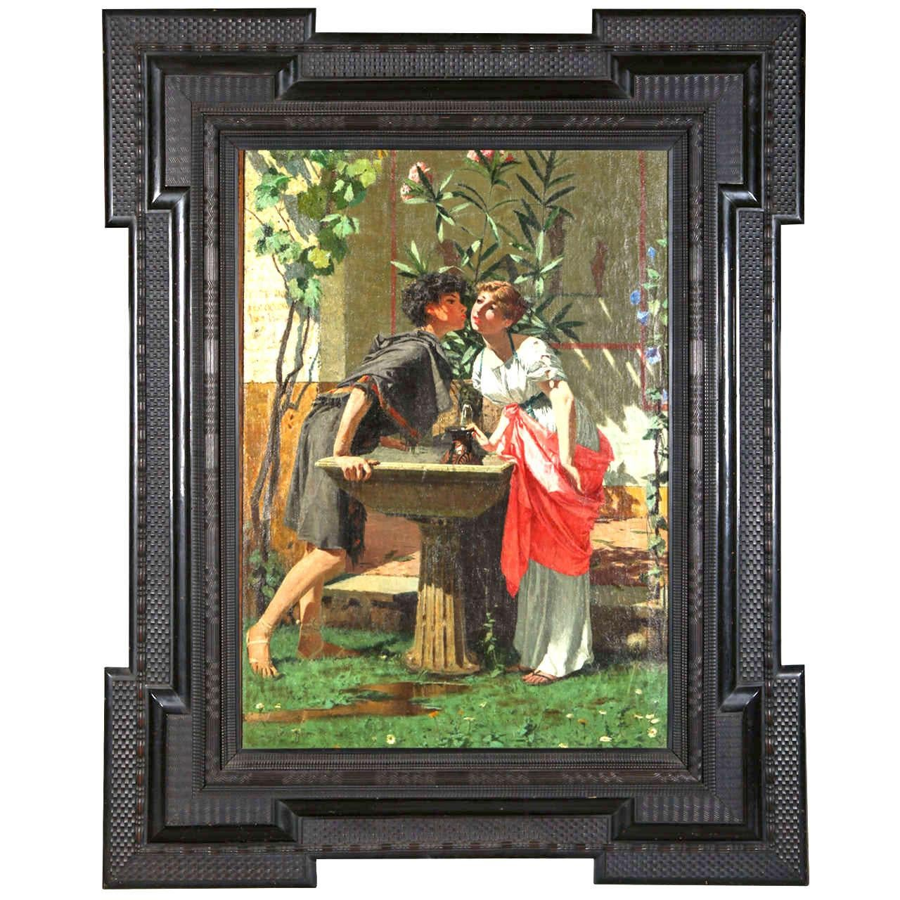Lovers at the Fountain - Italian 19th Century Figurative Oil on Canvas Painting