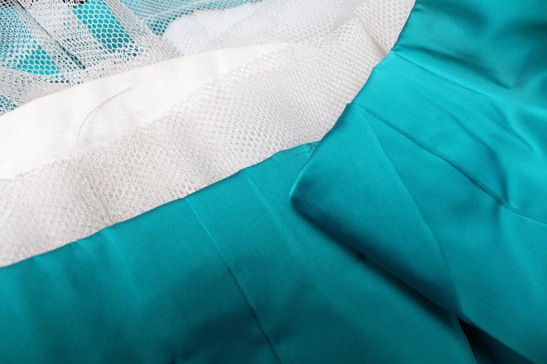 Modissa turquoise satin cocktail dress with bead embroideries For Sale 2