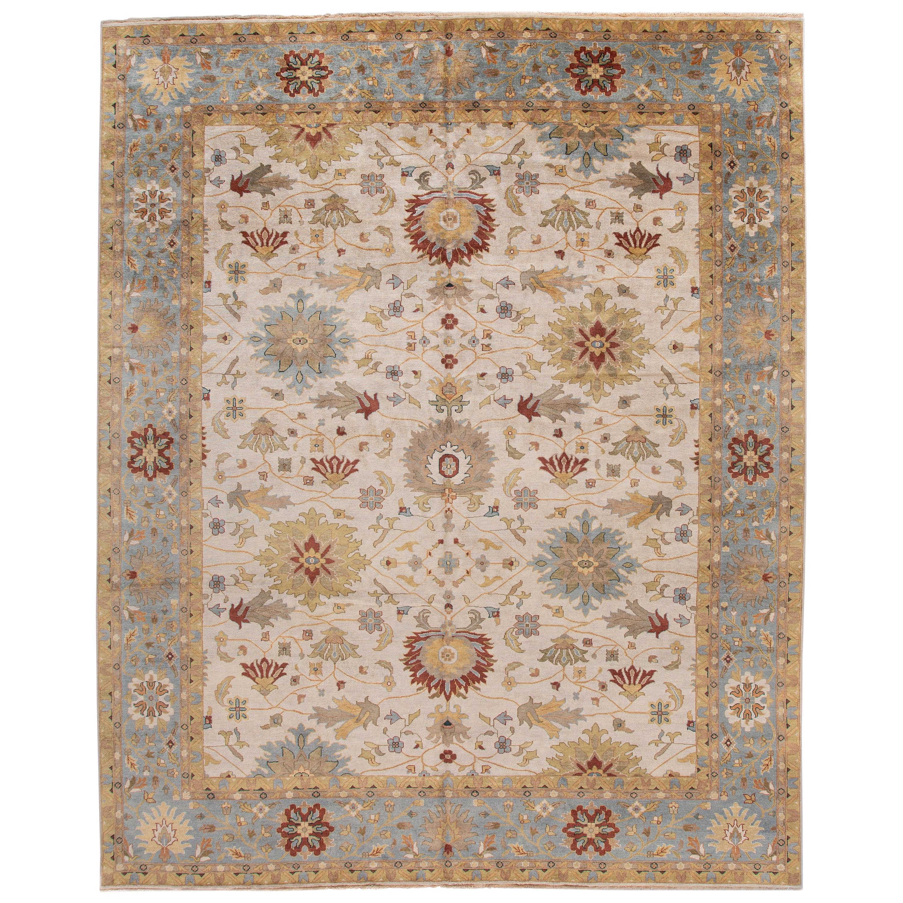Modern Indian Mahal Style Handmade Floral Oversize Wool Rug