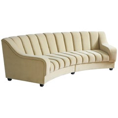 Segmented Curved Sofa in the Style of Desede in Imported Beige Velvet, Italy