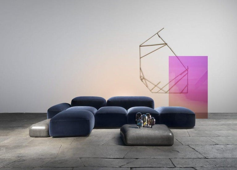 Leather Modular and Customizable Sofa 'Lapis' E019 For Sale