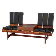 Modular Bench by Barovero Torino in Rosewood and Black Leather, Label 1955