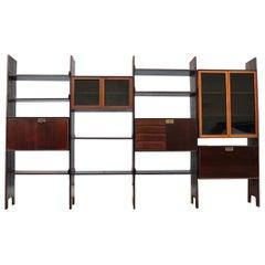 Modular Bookcases Vittorio Dassi Midcentury Italian Design Brown Wood