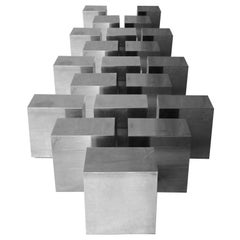 Modular Centre Side Table Cubic Shaped Chromed, Italy, 1970