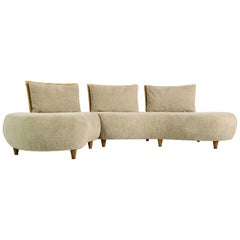 Modular Curved Sofa, Germany 1970s with Teddy Bear Fur, Cane and Beechwood Legs